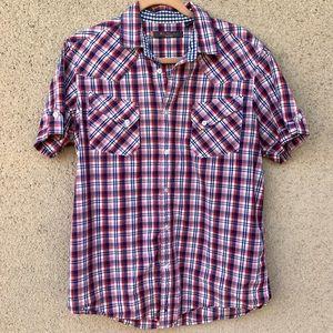 Ben Sherman plaid button up short sleeve shirt L